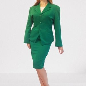 Christian Dior Vintage Green 2-Piece Wool Suit